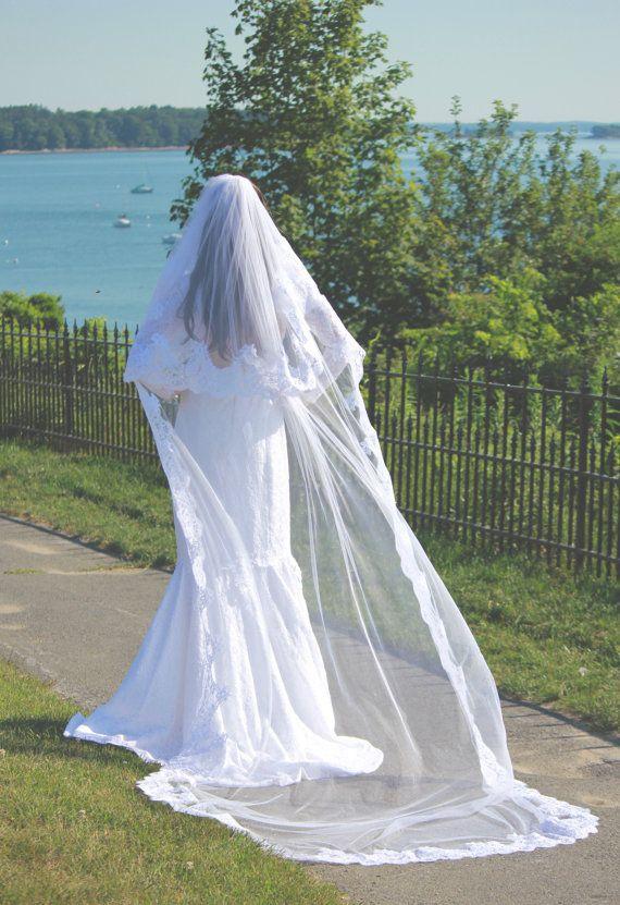 Hot Top Quality Best Sale Fashion Designer Blings Sparklings White Ivory Cathedral short Lace Applique veil Mantilla veil