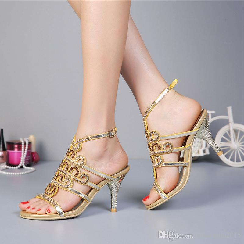 fd8968557f2e4 Summer Lady Sandals Stiletto Heel Rhinestone High Heels Fashion Sandals  Crystal Wedding Shoes Homecoming Party Pumps Gold Purple Kitten Heels  Wedding Shoes ...