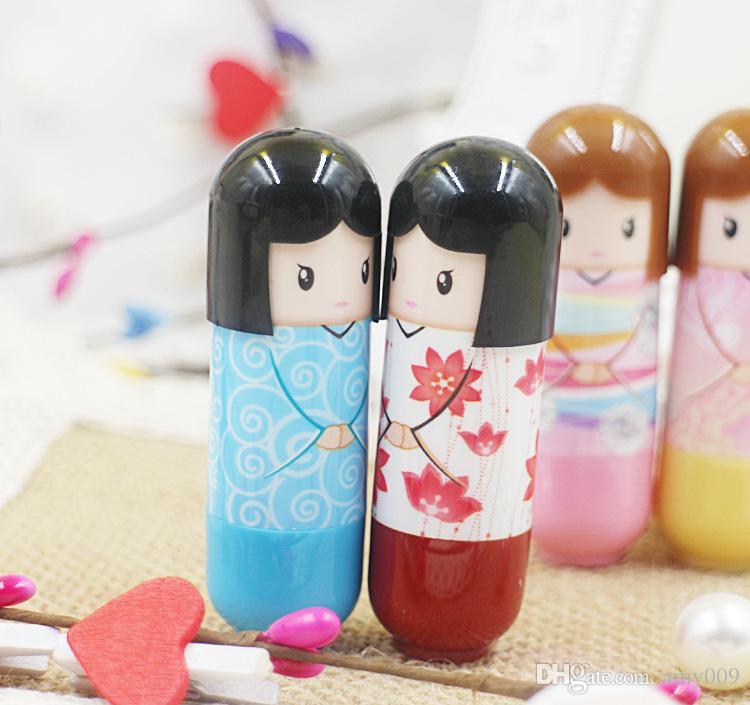 DHL Balsamo le labbra idratante Bambola giapponese carino balsamo le labbra pianta naturale Confortevole frutta fresca Favore Rossetti Lip Gloss