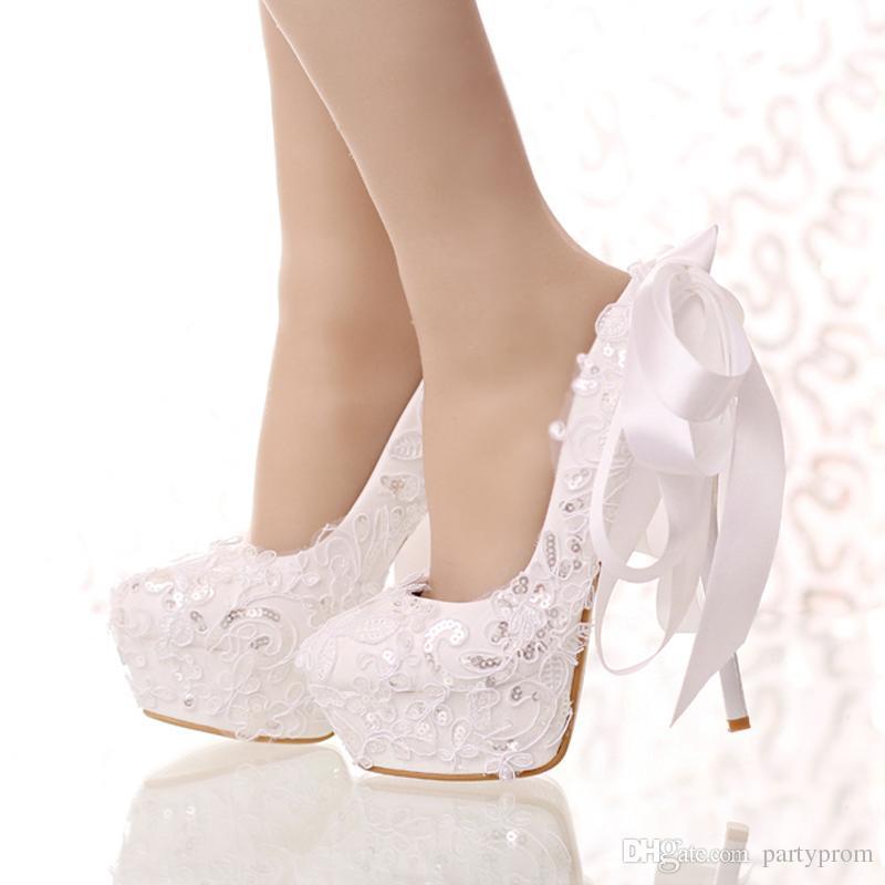 bdf4c0b6191c White Lace And Glitter Bride Shoes Round Toe Ribbon Bow Wedding Shoes High  Heel Platform Women Party Dress Shoes Bridesmaid Pump White Lace Wedding  Shoes ...