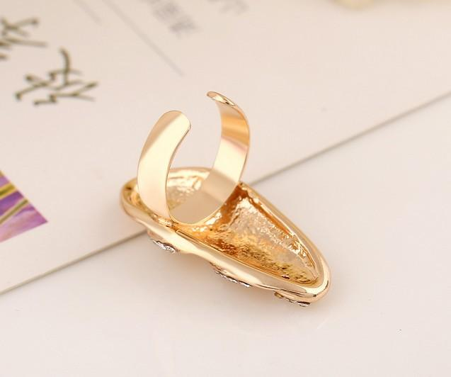 Wavy Rhinestone Crystals Silver Plated Metal Knuckle Fingernail Finger Tip Ring Nail Art Decoration Women Girl Valentine Gift
