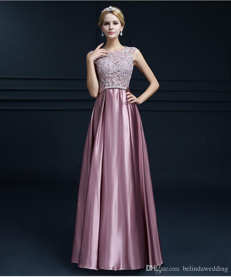 Lace Sheer Navy Blue Burgundy Fitted Prom Long Dresses Satin Evening