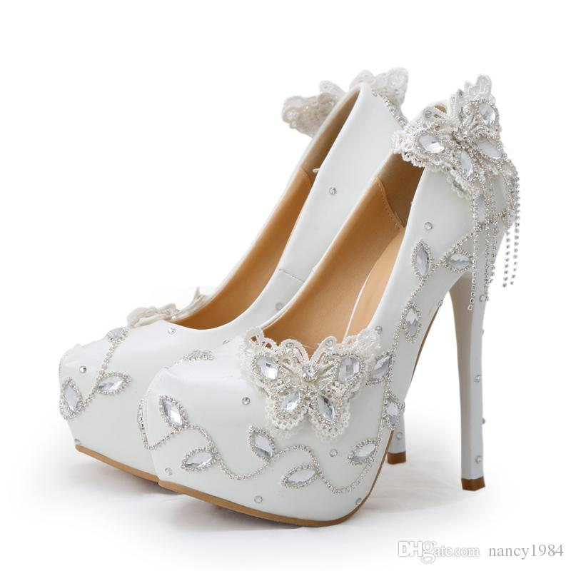 Sparkling Butterfly Wedding Shoes Crystal Bride Dress