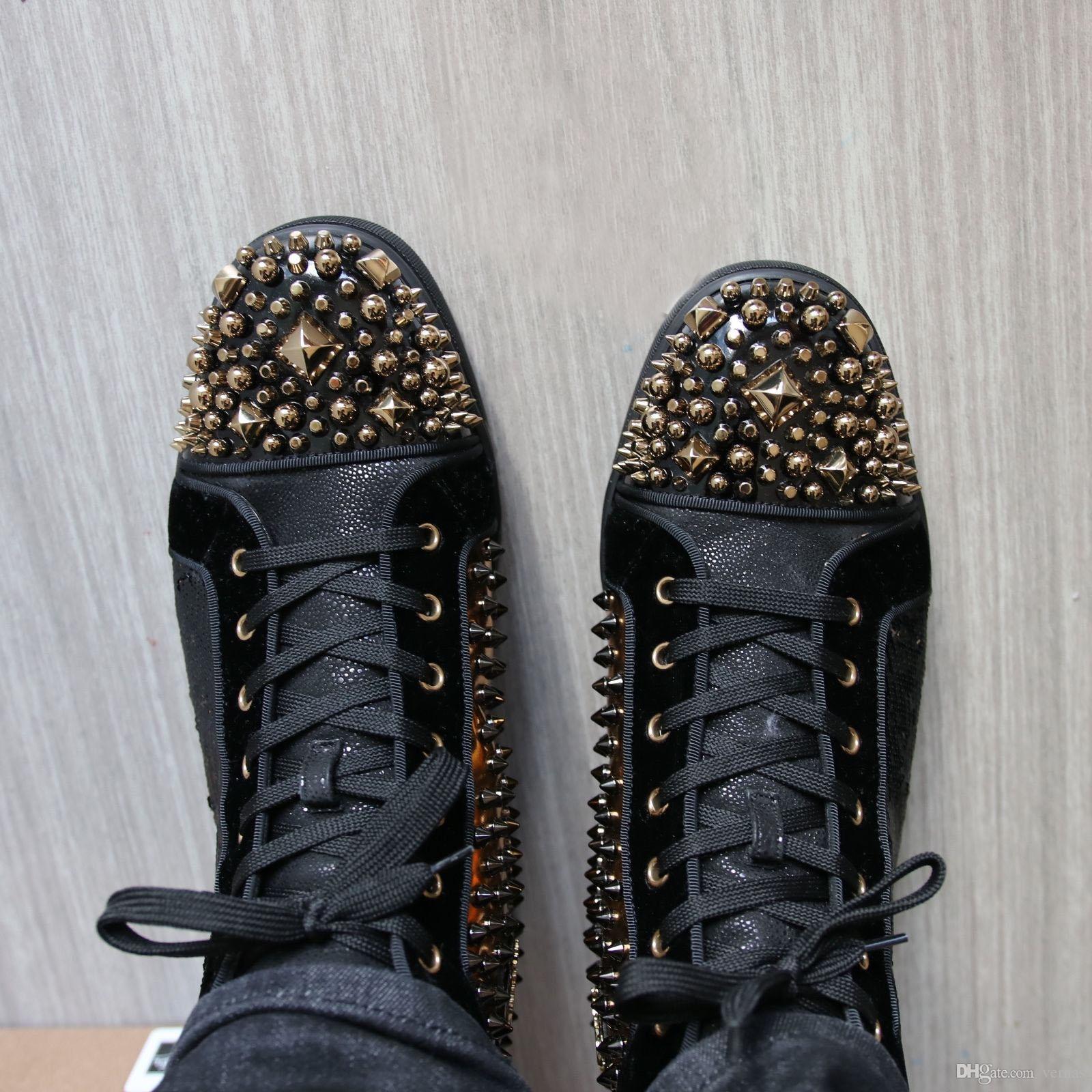 Real Photo Spikes Sneakers Shoes Mad Sneak Flat sneaker ultra-confortevole con punta rossa fondo rosso Fashion wedding party taglia 35-47 con scatola