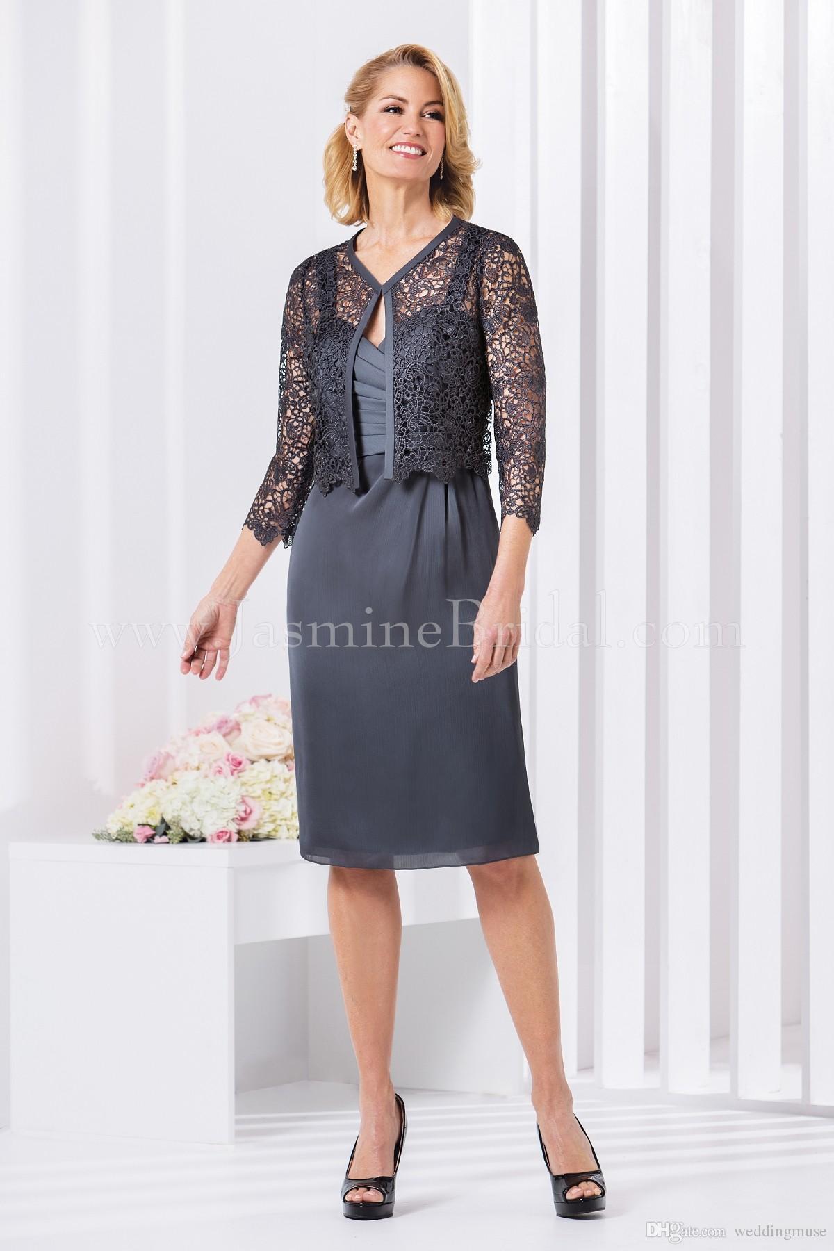 Grigio 2020 Jasmine madre della sposa si veste chiffon elegante di lunghezza del ginocchio con pizzo giacche di promenade abito da sposa partito