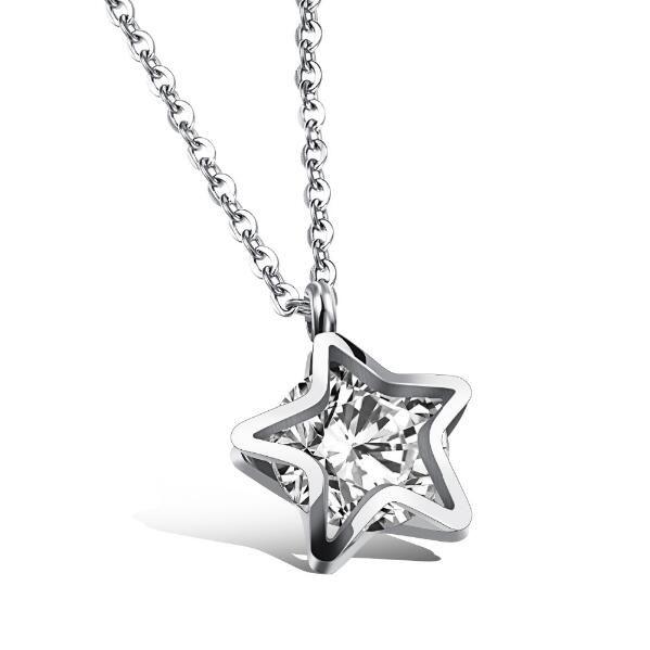 Повезло Звезда дизайн Ожерелье для женщины инкрустированные цирконий нержавеющей стали милый подарок ювелирных изделий для девочек GAX1083