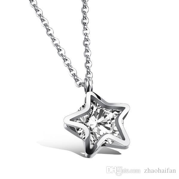 Lucky Star Design Pendant Necklace For Woman Inlaid Cubic Zirconia Stainless Steel Cute Jewelry Gift For Girls GAX1083