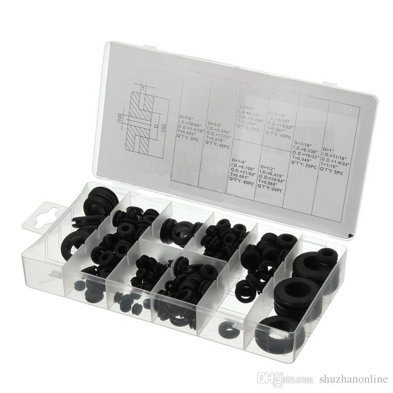 Juego de anillos de retención de ojales de goma de 180 pz. Orificio de obturación Cableado Cable Kits de juntas Herramientas de hardware
