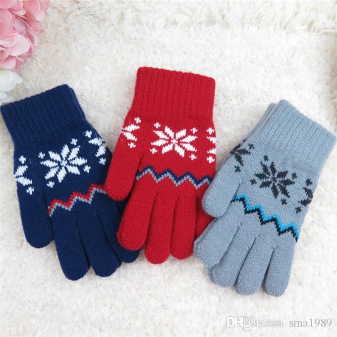 Autumn Winter Five Fingers Kids Gloves Boys Girls Mitten Thick Warm