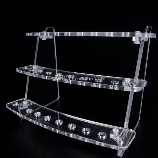 Acrylic e cig display case clear stand shelf holder rack for ecig electronic cigarette ego battery vaporizer pen mech mod dirp tip