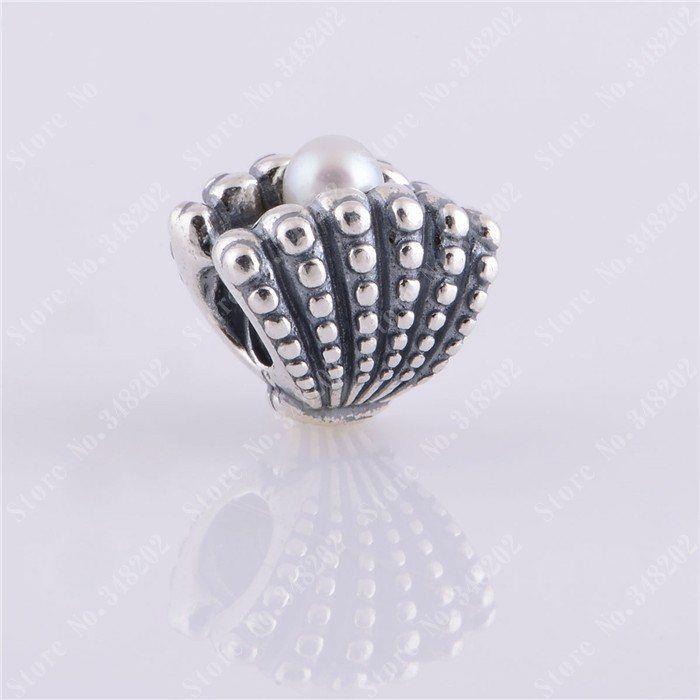 Perlas de agua dulce Perla de concha marina Hilo de cuentas europeo 100% 925 Joyas de plata esterlina para las mujeres Fit Pandora Pulseras Joyería de DIY que hace