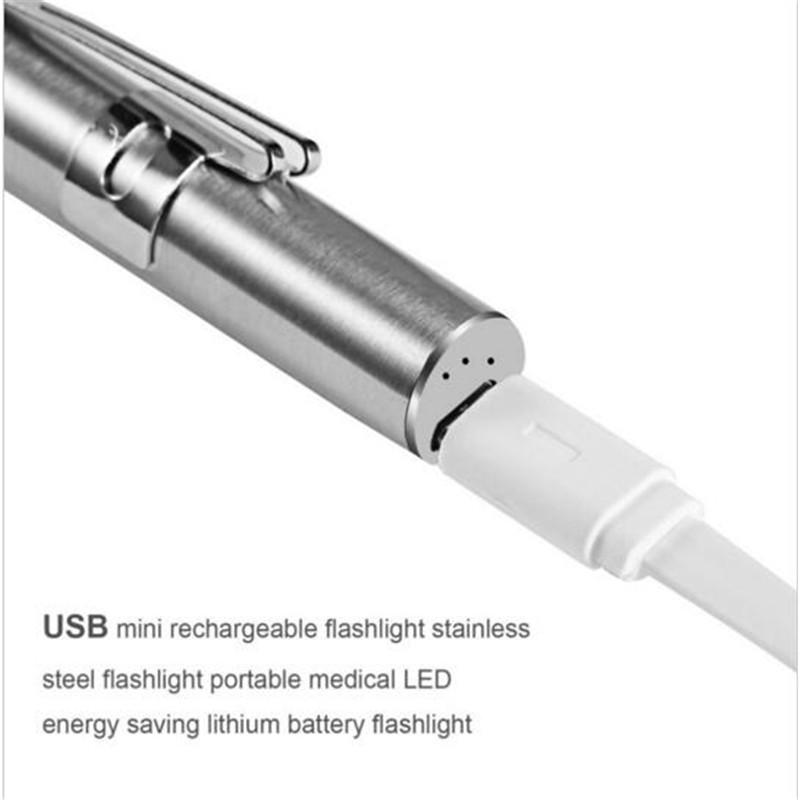 Medical Handy Portable Pen Light USB Rechargeable Mini Energy-saving Flashlight LED Torch with Stainless Steel Clip