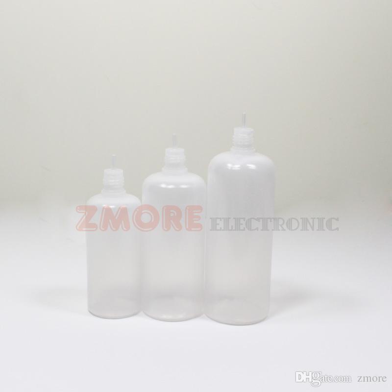 60ml 100ml 120ml PE E Flüssigkeit Flasche Troppfe Kunststoff E-Saft Leere Flaschen Kind Proof Caps Lange dünne Nadelspitzen Durchsichtige Flasche zum Verkauf
