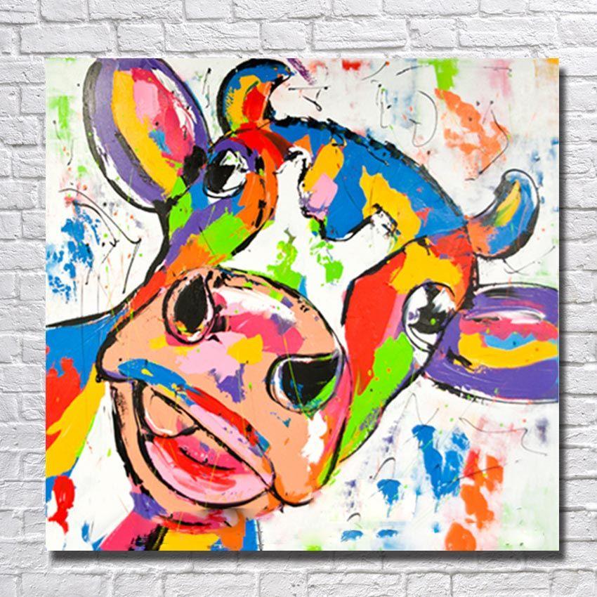 Dessin animé Vache Peinture pour Chambre Mur Peint À La Main Peinture À L  huile Décor À La Maison Mur Photos Moderne Toile Art Pas Cher Peinture ...