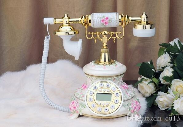 ANENG Rétro Vintage Style Antique Floral Céramique Home Decor Bureau Téléphone Téléphone Vintage En Bois Home Fitted Landline