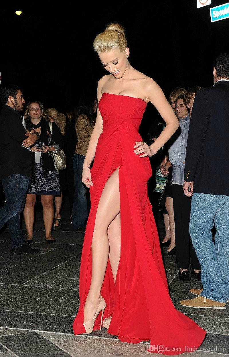 Amber Heard Elie Saab SRed Sheath Column Side Slit Strapless Sleeveless Ruffles Chiffon Floor-Length Dresses Evening Dress