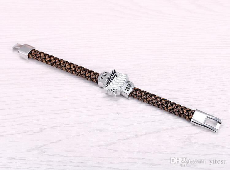 Новый 2016 мужчины ювелирные изделия атака на Titan веревка цепи браслеты Shingeki нет Kyojin скаутинг Легион косплей плавающие женщины браслеты