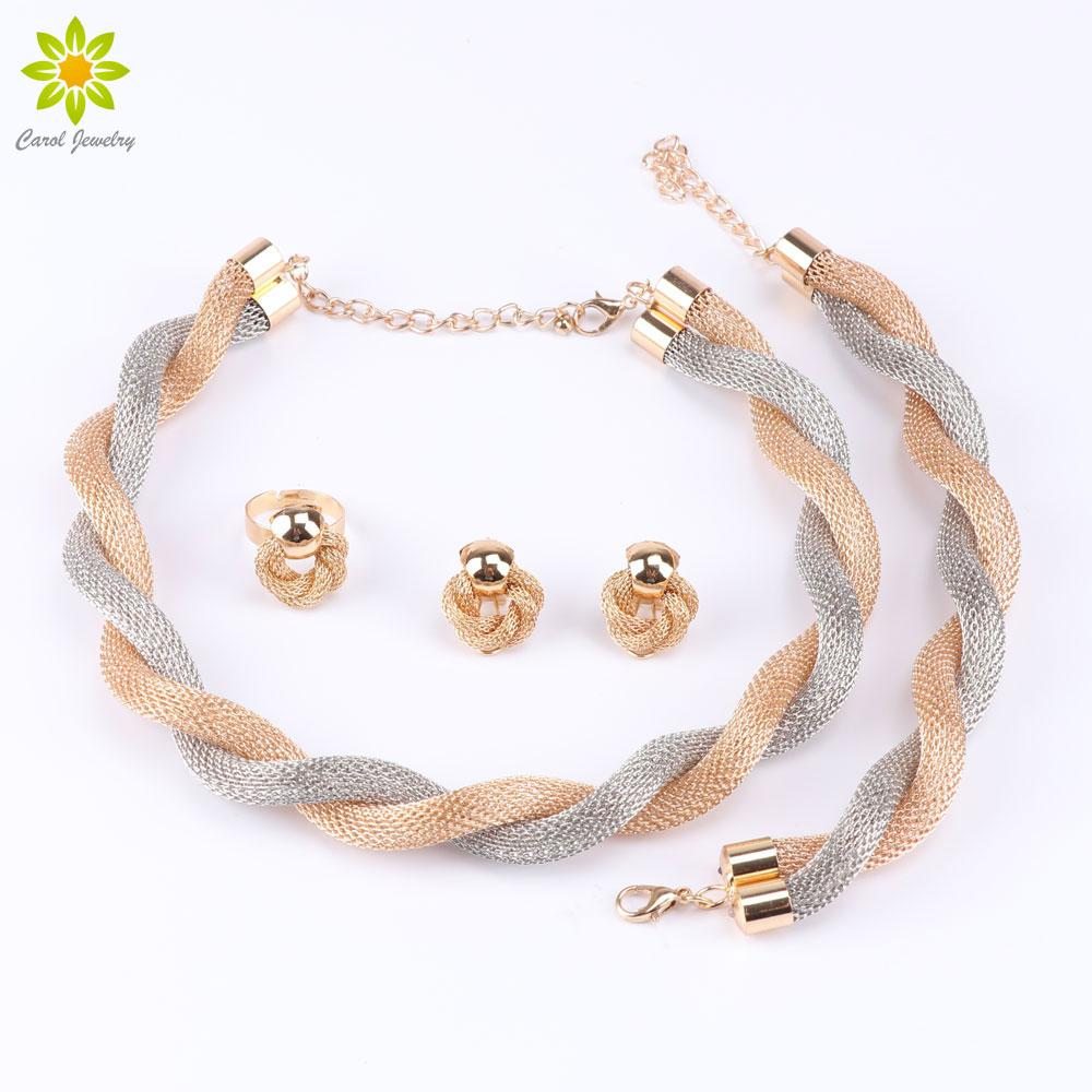 Dubai African Gold Plated Exaggerated Choker Necklace Earrings Bracelet Ring Fashion Wedding Bridal Costume Jewelry Sets