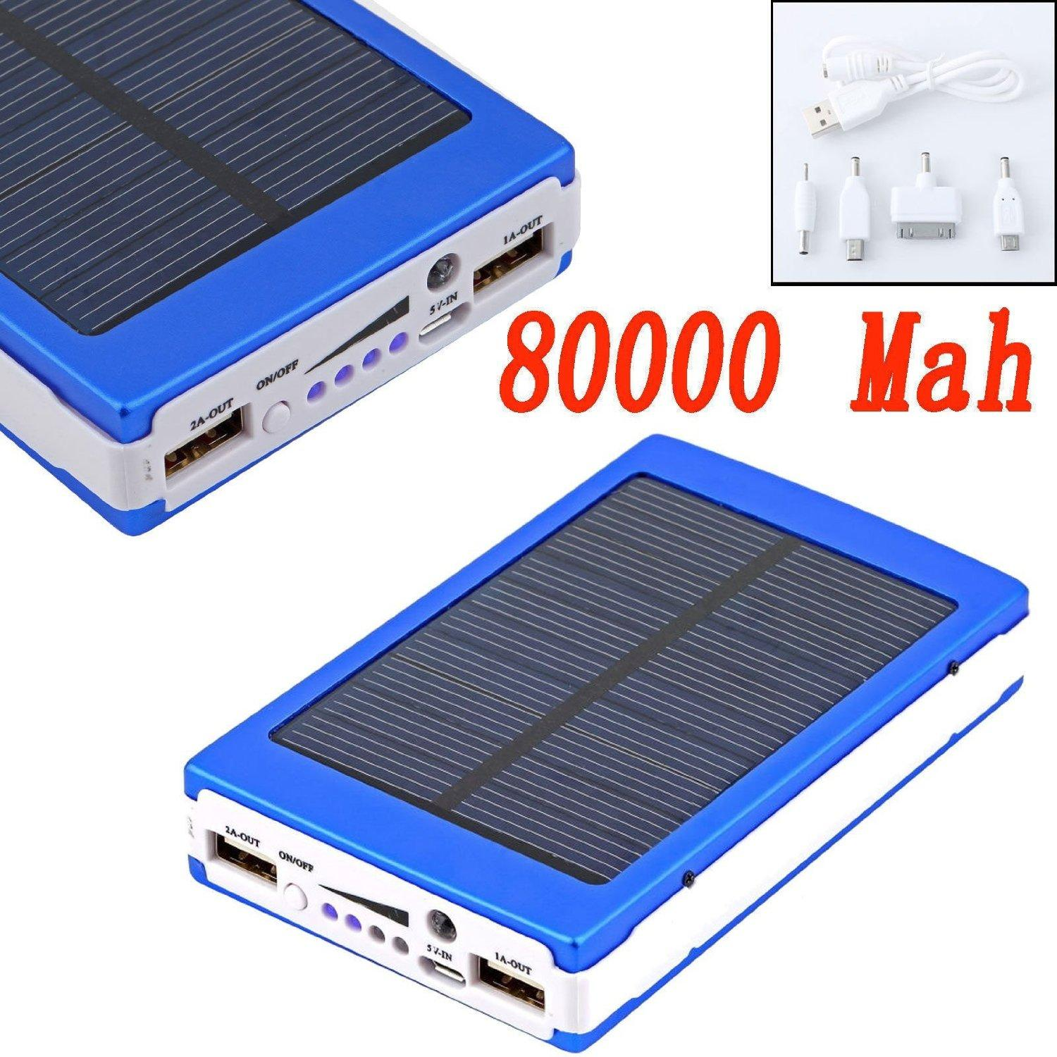 Solar Panel Battery Bank >> 80000mah Dual Usb Portable Solar Battery Charger Power Bank For Cell Phone Blue