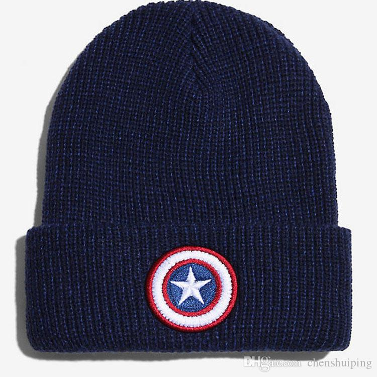 50ebb757a New Fashion Accessories Winter Hats Men and Women s Captain America Beanie  Star Cap Warm Knitted Hat