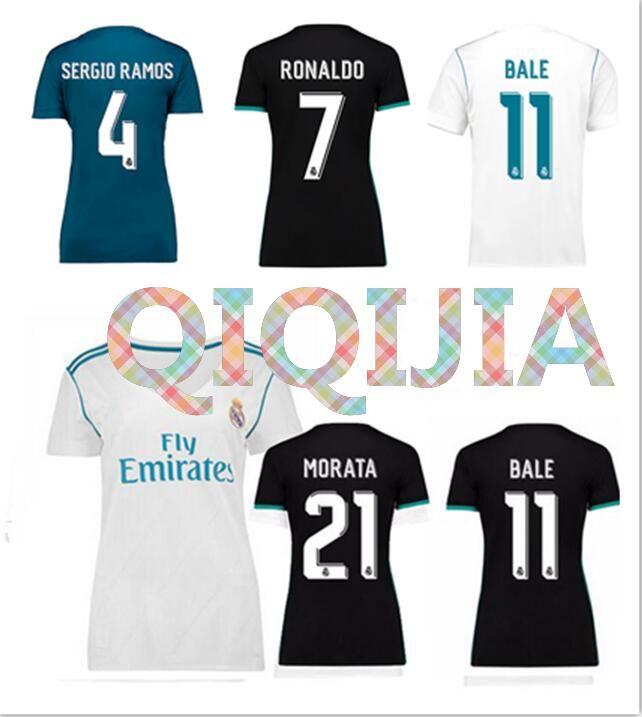 buy popular d74f0 2b9f8 2017/2018 Real Madrid Women soccer Jersey RONALDO White Black Blue SERGIO  RAMOS White BALE RAMOS ISCO MODRIC Benzema Asensio football shirt