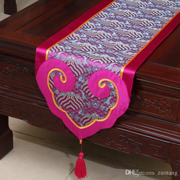 Lengthen Heart Patchwork Table Runner Luxury Fashion Vintage Dining Table Mats Chinese style High End Silk Brocade Tea Table Cloth 240x33 cm