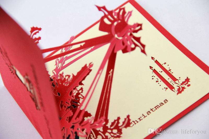 Biglietto di auguri di Natale candele di auguri di Natale decorazione di Natale cartoline di Natale saluto bessing carte pop-up biglietto di auguri