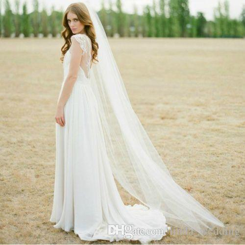 High Quality Hot Sale Ivory White Two Meters Long Tulle Wedding Accessories Bridal Veils With Comb