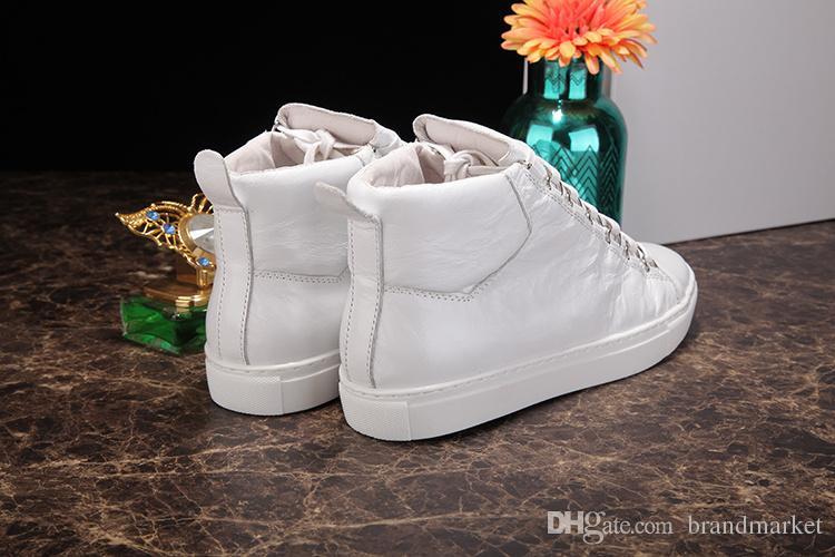 2018 Nouveau Designer Nom Marque Homme Chaussures Décontractées Plat Kanye West Mode Cuir Ridé à Lacets Hauts Hauts Formateurs Runaway Arena Chaussures Taille 46