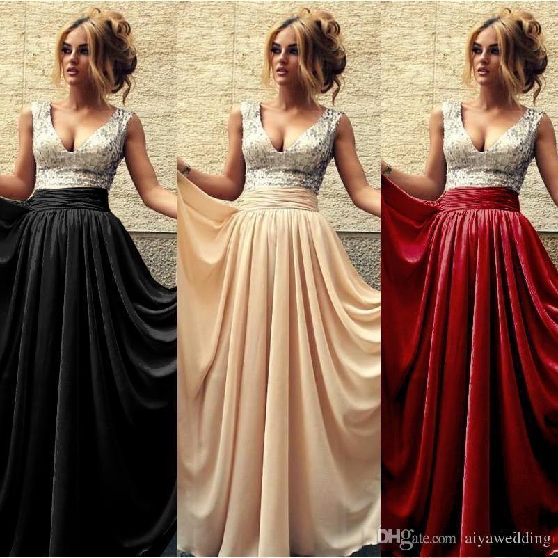 2019 Summer Cheap Evening Dresses V Neck A line Chiffon Sequins Long Prom Dress Burgundy Black Party Gowns