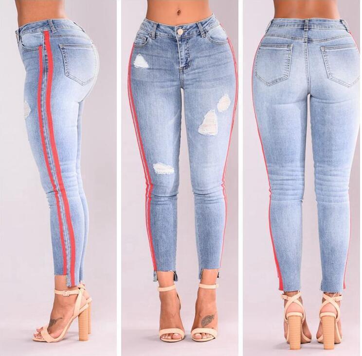 Acheter Taille Haute Stretch Jeans Jeans Denim Mode Côté Ruban Jeans Pour  Lady Wear Casual Jeans Skinny Sexy Slim Pantalons De  15.47 Du Wuarray  9c4cf7d5185