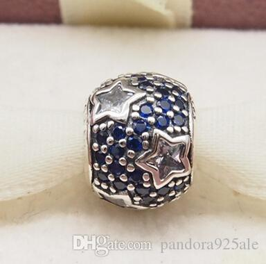 b7f6699b9 2019 Fits Original Pandora Bracelets & Bangles & Necklaces MIDNIGHT BLUE  PAVÉ STARS CHARM DIY Beads Real Solid 925 Sterling Silver Not Plated From  ...