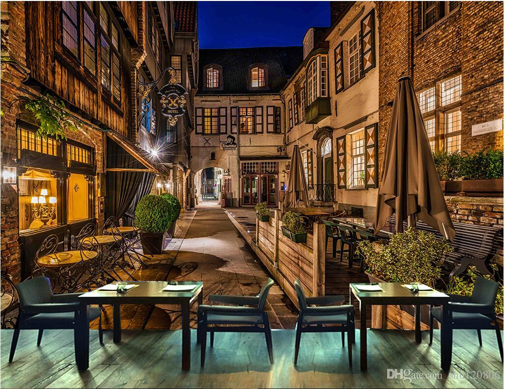 3d wallpaper custom photo european cafe city street bar for Cafe mural wallpaper