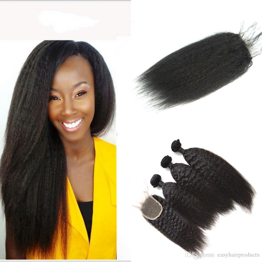 Mongolian Human Hair Wefts Extensions With Lace Closure Virgin