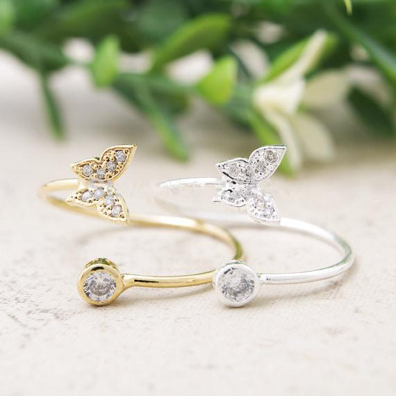 Fashion brands crystal ring 18 k rose gold plated diamond butterfly ring jewelry women selling products to send the best gift