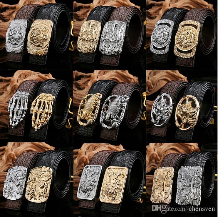 Nuova lega di alta qualità agio Cintura da uomo in pelle di scorpione in lega di cinturino in pelle di coccodrillo con fibbia liscia