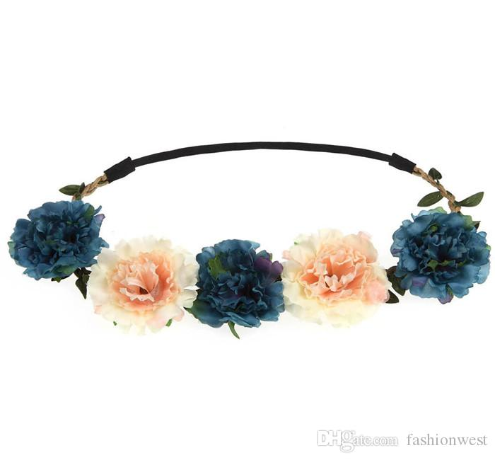 Guirnalda Reino Unido Boho Womens Girls pelo diadema floral fiesta de la boda Festival Flor de la flor Novia dulce dulce adornos para el pelo tocado