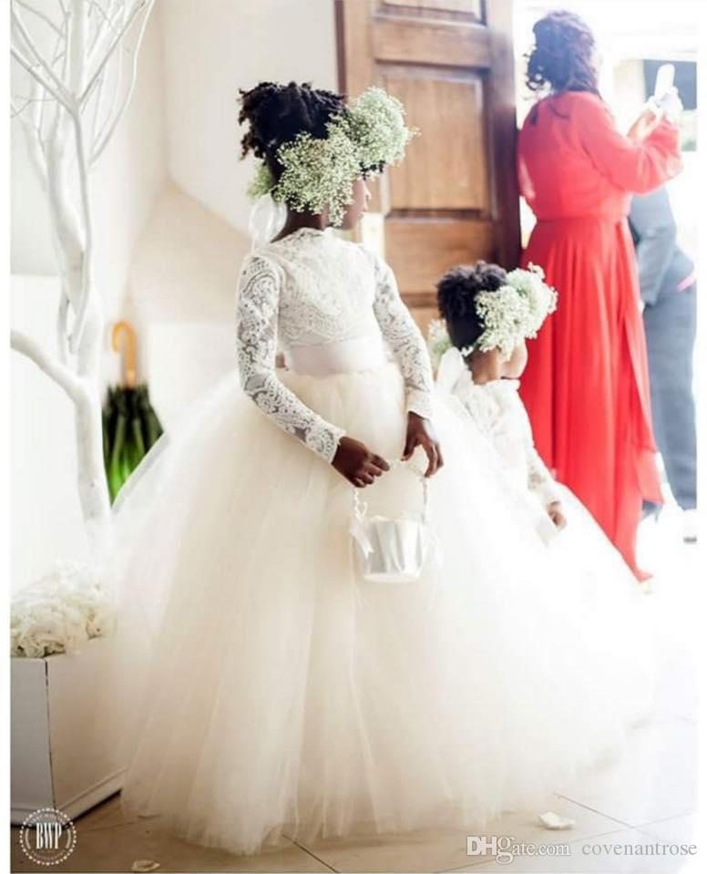 Pretty High Neck Lace Flower Girls Dresses Ball Gown Long Sleeves Sheer Ribbon Sash Girls Pageant Gowns Birthday Communion Gowns