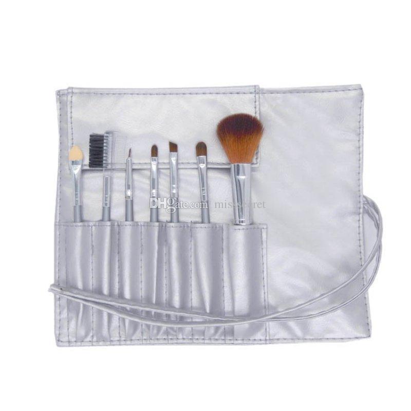 Мини Портативные наборы кистей для макияжа 7шт Косметическая кисточка Тени для век Подводка для глаз Подводка для губ Наборы кистей для макияжа с PU кожаной сумкой DHL Free