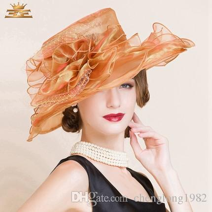 2015 Ladies Church Hats Organza Wedding Hat Handmade Flowers Women Hats Wide Brim Hats Wedding Party Accessories Custom Made For Women