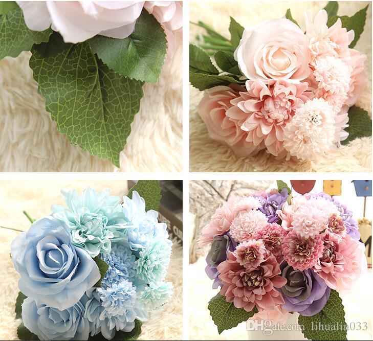 1 Bouquet 30 CM Rosas Dálias Flor De Seda Buquê De Casamento Flores Artificiais Queda Vivid Folha Falso Bouquets De Noiva Decoração