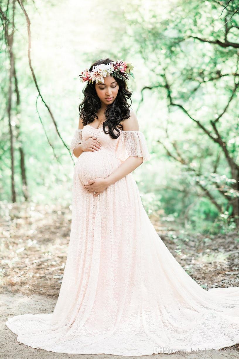 사진 촬영을위한 맥시 출산 복장 임산부 사진 소품 임신 한 여성을위한 임신 복장 긴 흰 레이스 원피스
