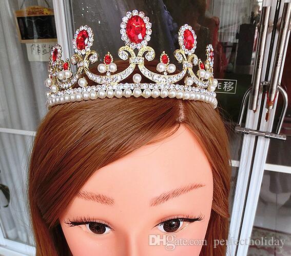 황금 왕관 진주 머리는 고대의 방법 신부의 머리 장식 빨간 드레스 다이아몬드 보석 액세서리를 복원