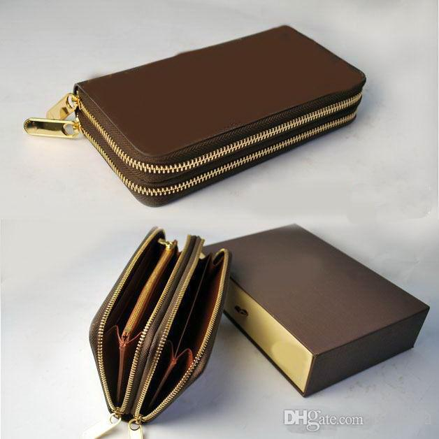 99292df0bd44 2019 New Style Double Zipper Mens And Womens Wallets Purse Card ...