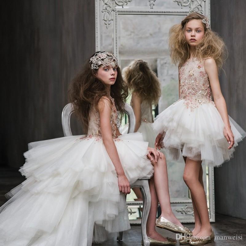 623639e9883b Luxury High Low Flower Girls Dresses For Weddings Lace Applique ...