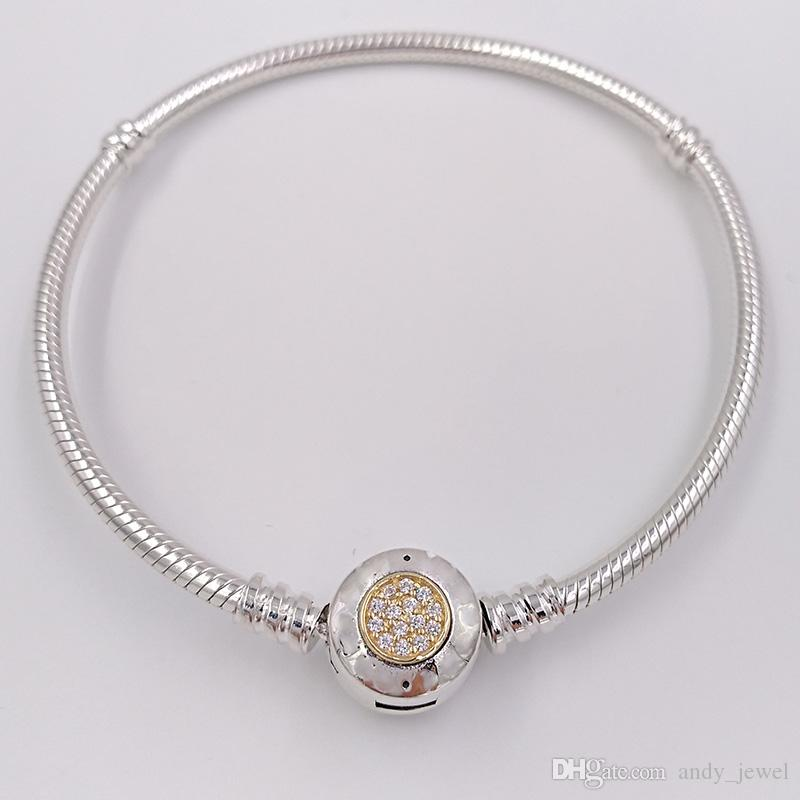 Authentic 925 Sterling Silver Beads Moments Two Tone Bracelet With P Signature Clasp Fits European Pandora Style Jewelry Charms 590741CZ