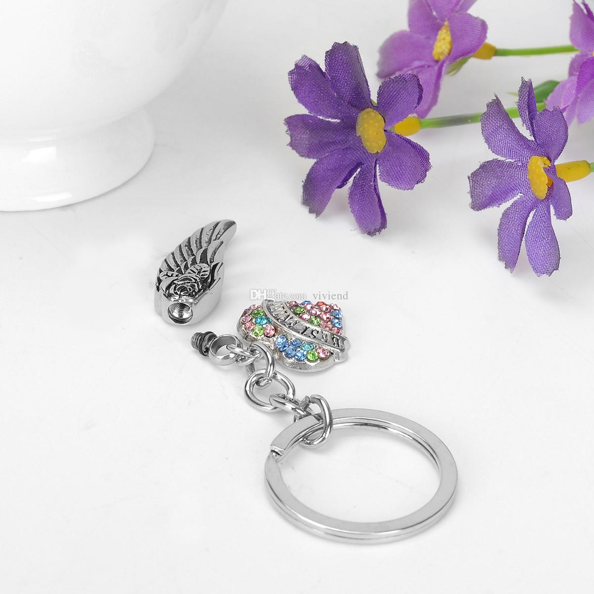 Urn Angel wings Keychain BEST FRIEND in Heart Ashes Memorial Keepsakes Cremation Jewelry with Funnel and Gift Bag