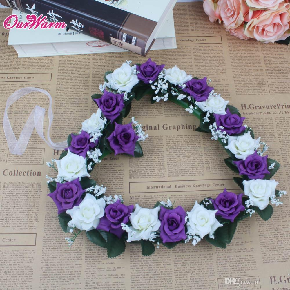 Beach Wedding Car Decoration Cuore Rose Wreath Porta appeso a parete di nastro di seta Ghirlanda artificiale Home Decor Fiore ornamento domestico