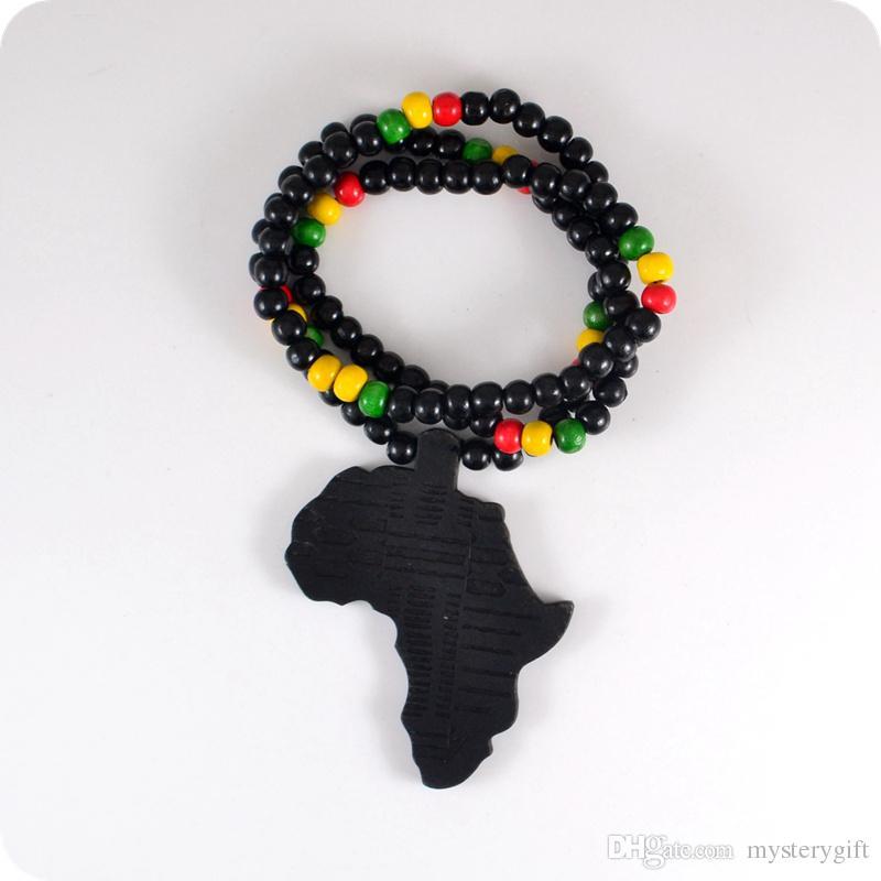 Bra trä NYC X Chase Infinite Black Africa Karta Träpärlor Halsband Hip Hop Mode Smycken