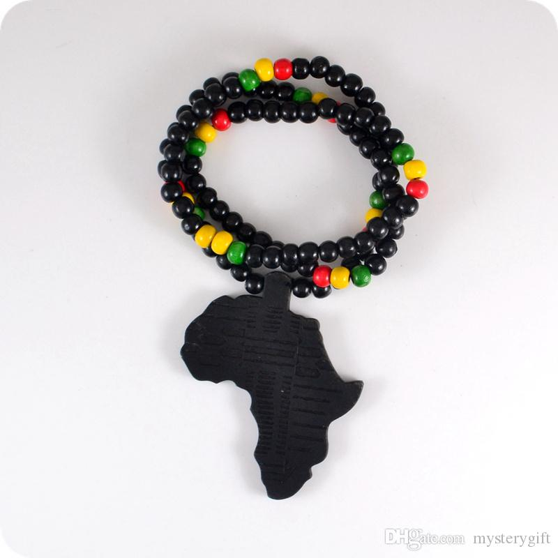 Good Wood NYC X Chase Infinite Black Africa Map Wooden Beads Necklace Hip Hop Fashion Jewelry